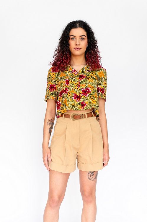 Cropped Blouse - Leopard Hawaiian