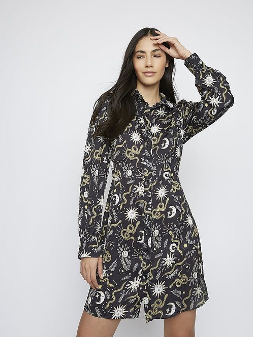 Sun and Moon print shirt dress