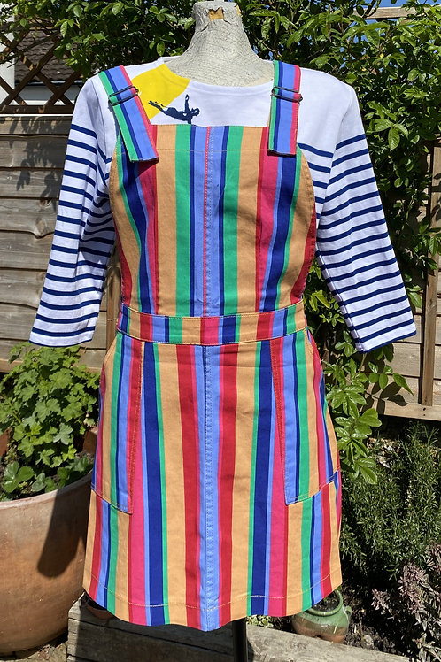 Rainbow colours twill pinafore dress by Run & Fly