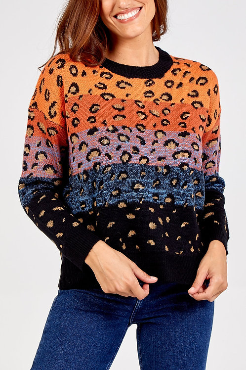 Leopard print colour block jumper