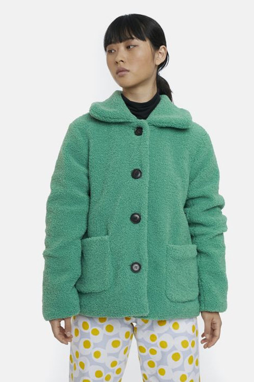 Cropped green shearling coat