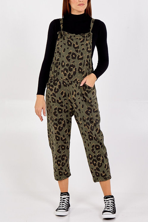 Leopard print jersey cotton tie front dungarees
