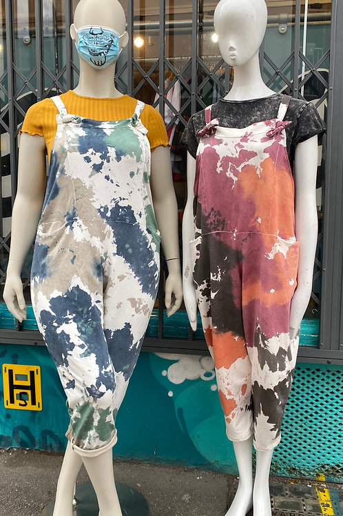 Tie dye jersey cotton dungarees