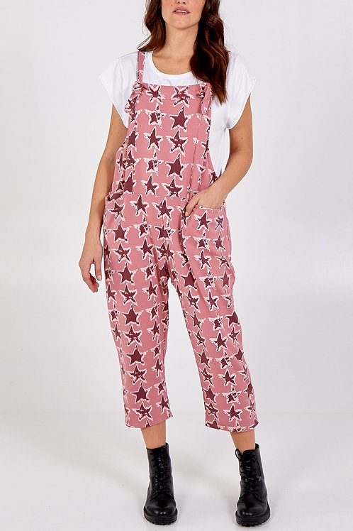 Star print jersey dungarees - one size