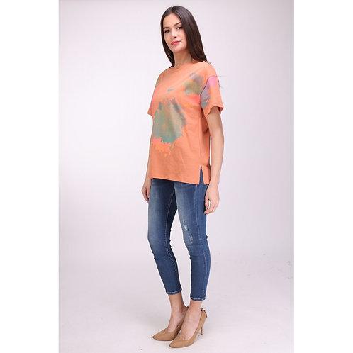 Printed tie dye effect t shirt