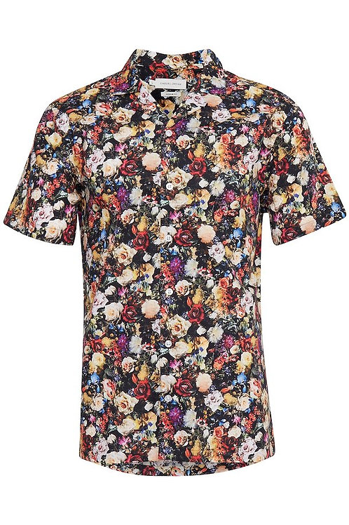 Black floral short sleeved shirt