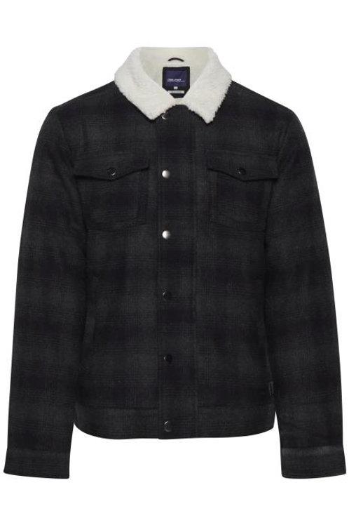 Wool checked shearling jacket