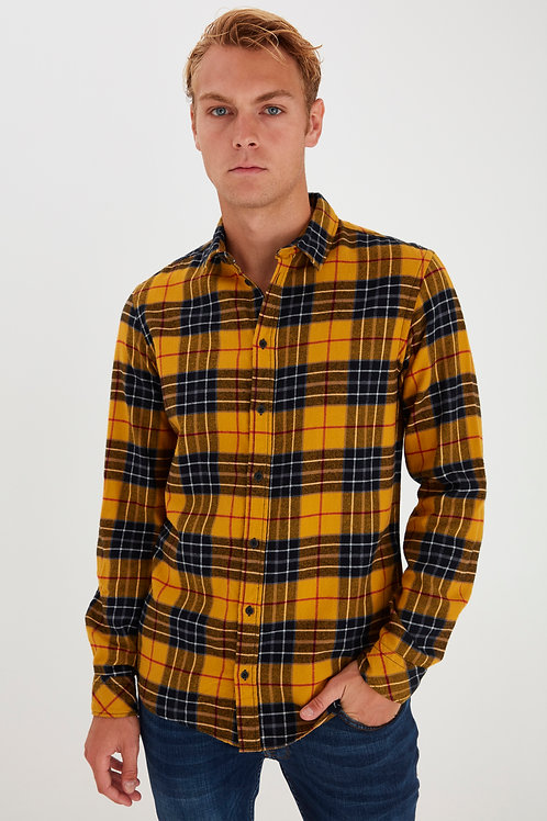 Yellow checked flannel shirt