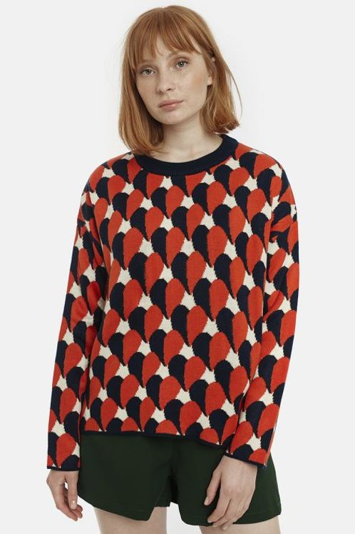 Two-tone heart print jumper