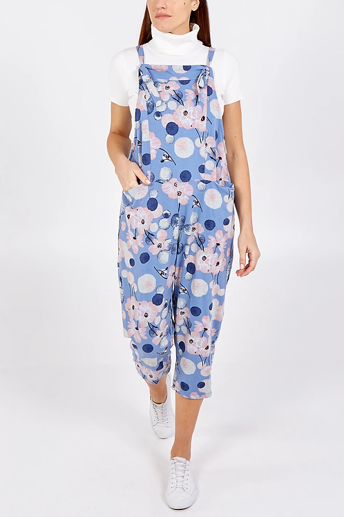 Flower pattern jersey dungarees 3/4 length - one size