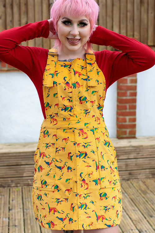 Rainbow Dino corduroy pinafore dress