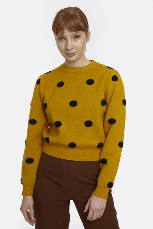 Yellow long sleeve polka dot jumper