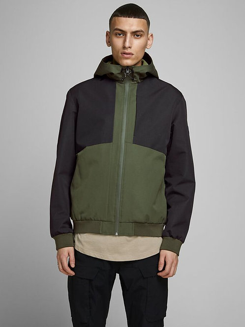 Water repellent two tone jacket - olive green/black
