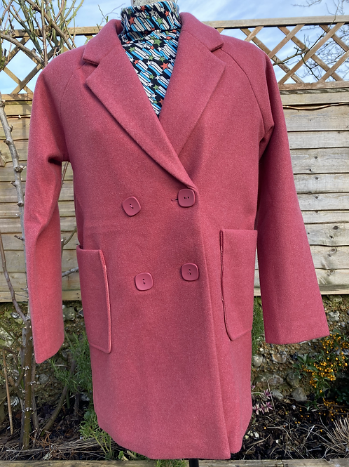 Pink double-breasted coat