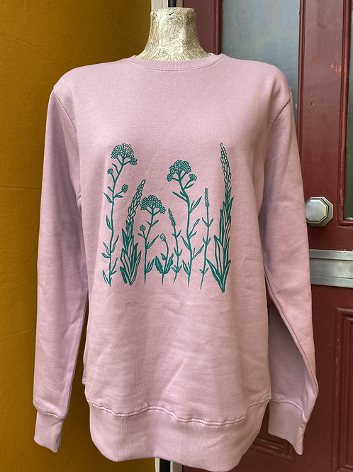 Wildflower printed sweatshirt - dusty pink