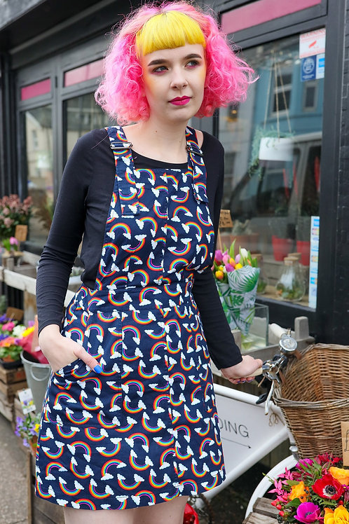 Over the rainbow pinafore dress in twill cotton