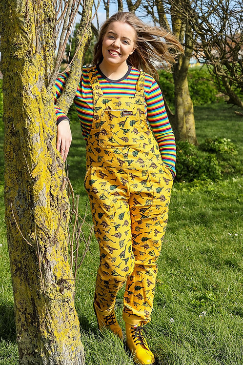 Gold random dino corduroy dungarees by Run & Fly