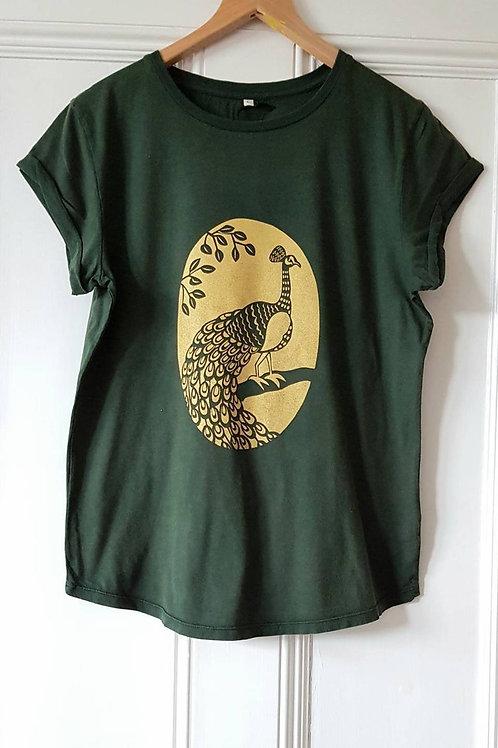 Peacock print t shirt - stonewash green