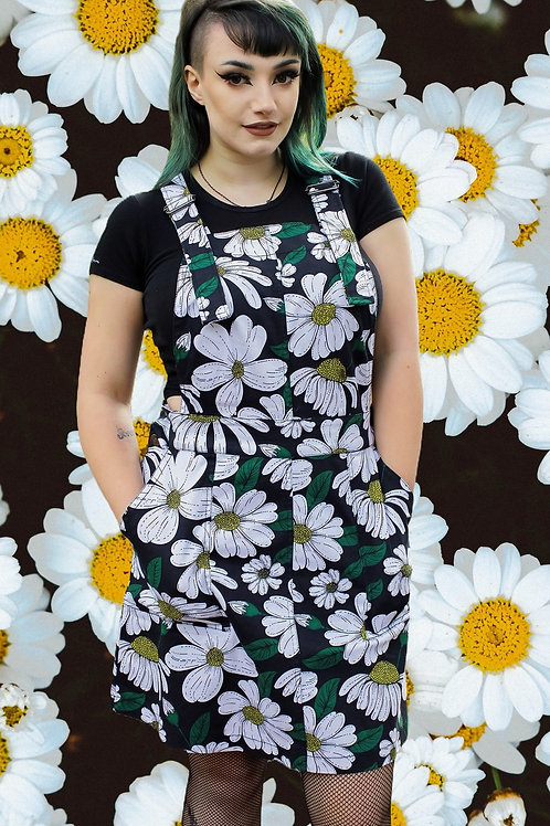 Black Daisy Pinafore Dress