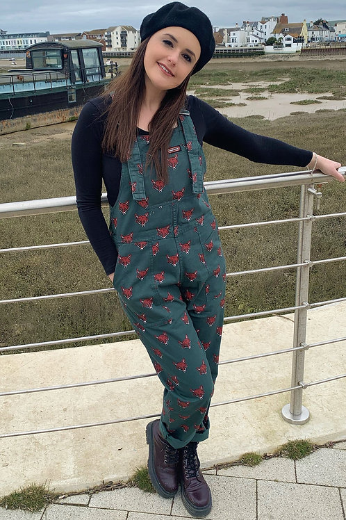 Fox head dungarees in twill cotton by Run & Fly