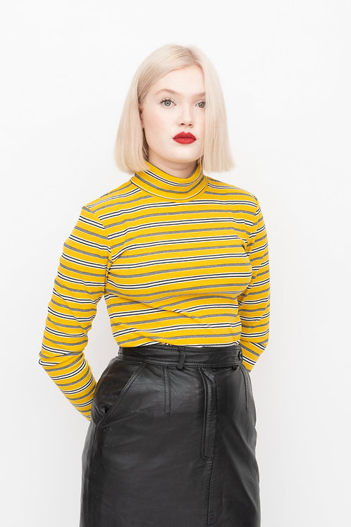 Jersey striped polo neck - yellow