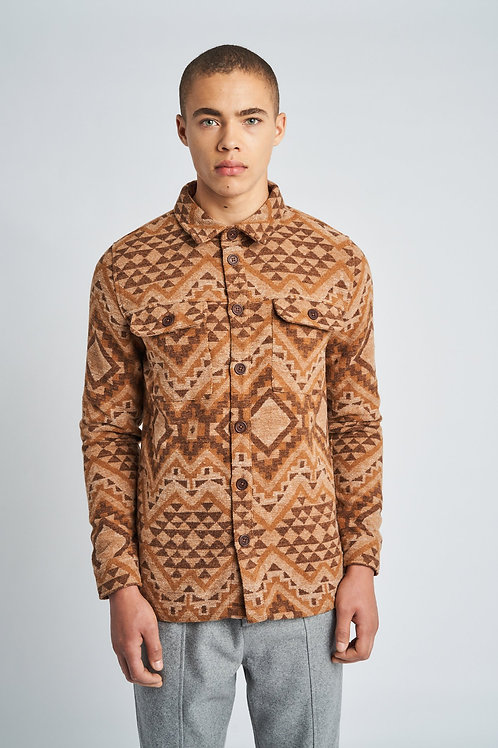 Aztec print wool overshirt