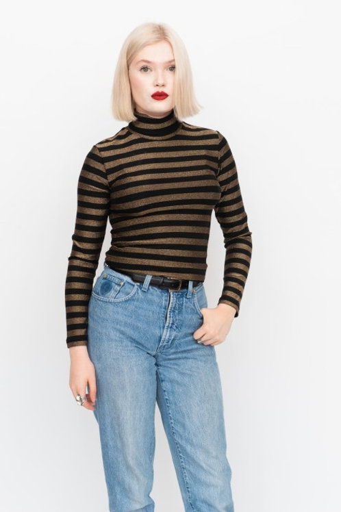 Lurex polo neck - black and gold