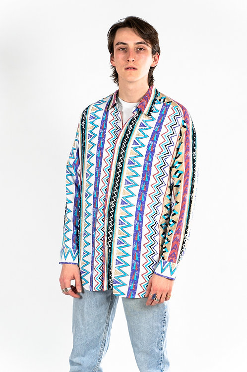 90'S long sleeved rayon shirt -White/ Turquoise