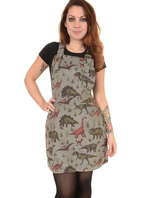 Dinosaur cord pinafore dress by Run & Fly