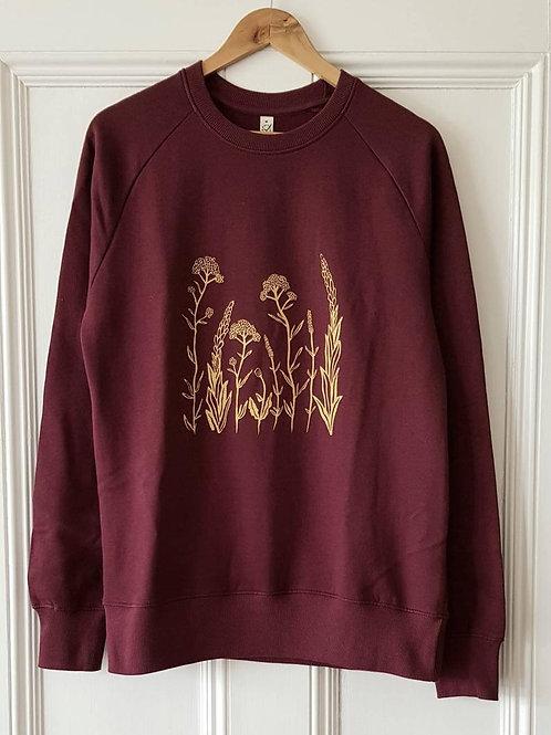 Wildflower printed sweatshirt - burgundy