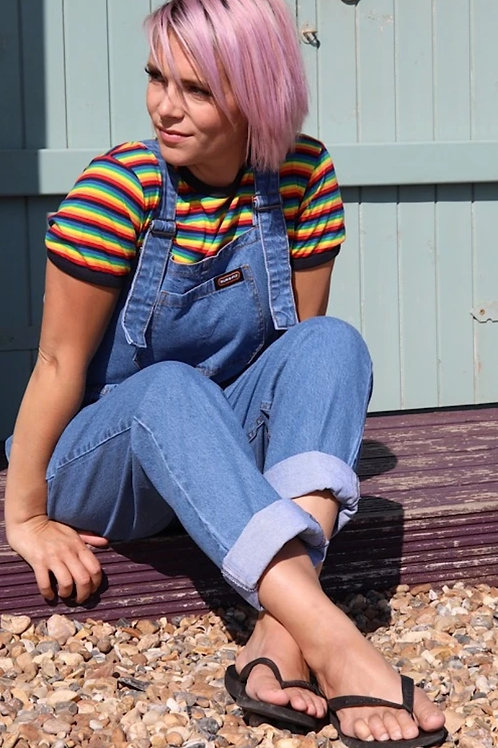 Baggy stonewashed denim dungarees by Run & Fly