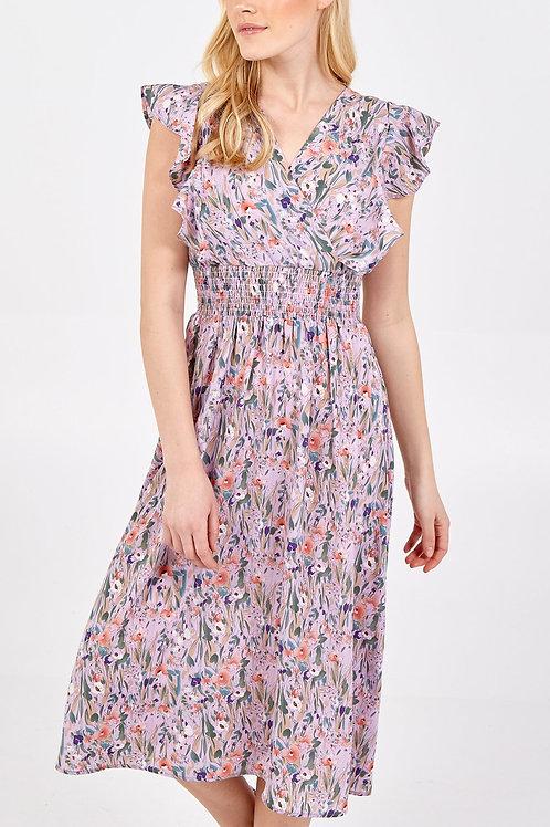 Ruffle Sleeve Shirring Waist Dress