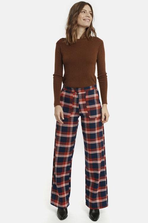 Orange check flannel trousers