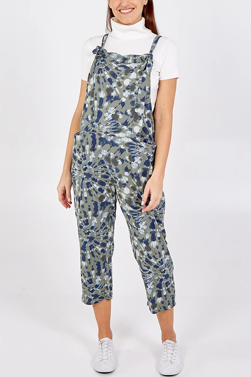 Spiral print tie dye jersey dungarees 3/4 length - one size