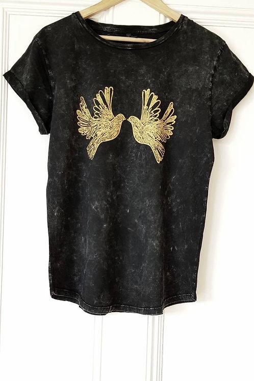 Gold Doves print t shirt - stonewash black