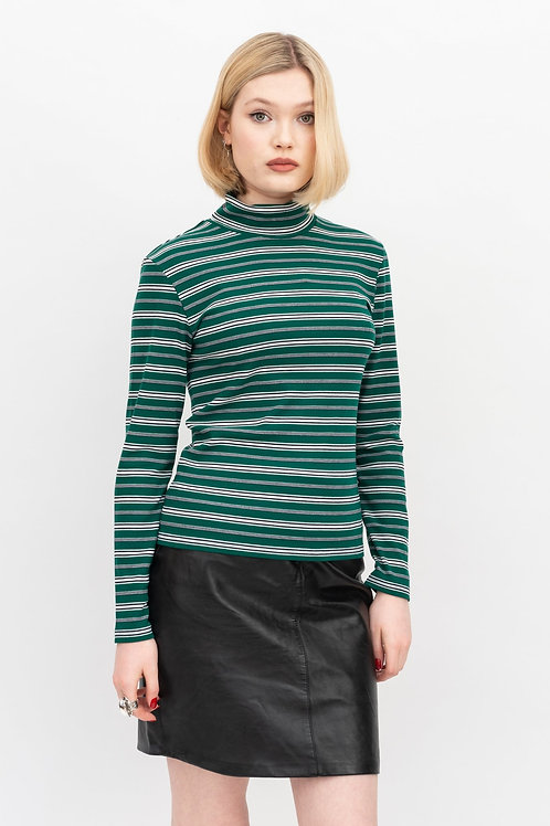 Jersey striped polo neck - green