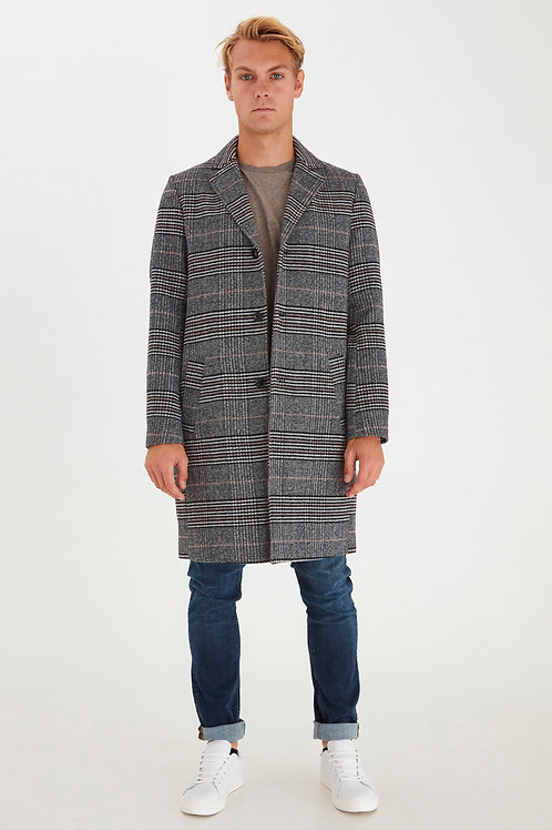 Long grey checked coat
