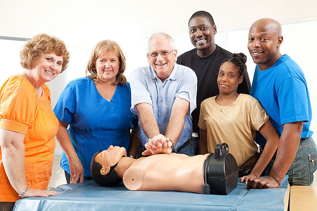 Instructor simulate First Aid CPR AED