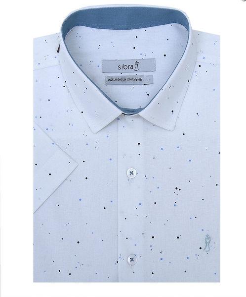 Camisa Casual Slim Manga Curta Estampada Summer Branca Poa sem Bolso.
