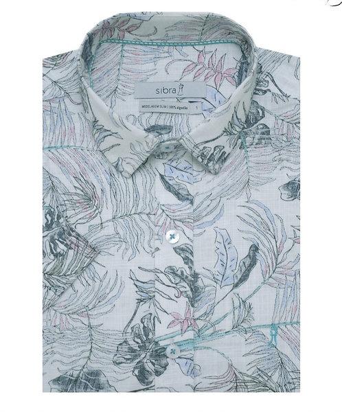 Camisa Casual Slim Manga Curta Estampada Floral Summer Branca sem Bolso.