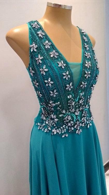 Vestido Longo Importado Verde Esmeralda Ref. H03