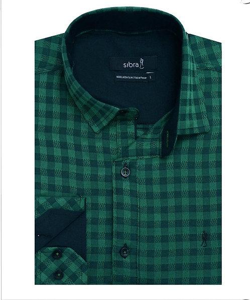 Camisa Slim Jacquard Verde Manga Longa sem Bolso