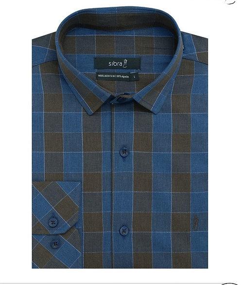 Camisa Casual Slim Manga Longa Azul Xadrez sem Bolso