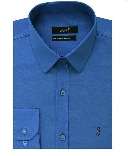 Camisa Longa Slim Azul Cobalto sem Bolso