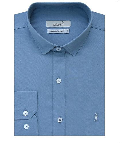 Camisa Longa Slim Azul sem Bolso