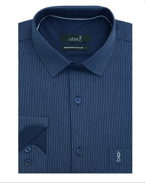 Camisa Regular Manga Longa Listrada Azul Marinho com Bolso.