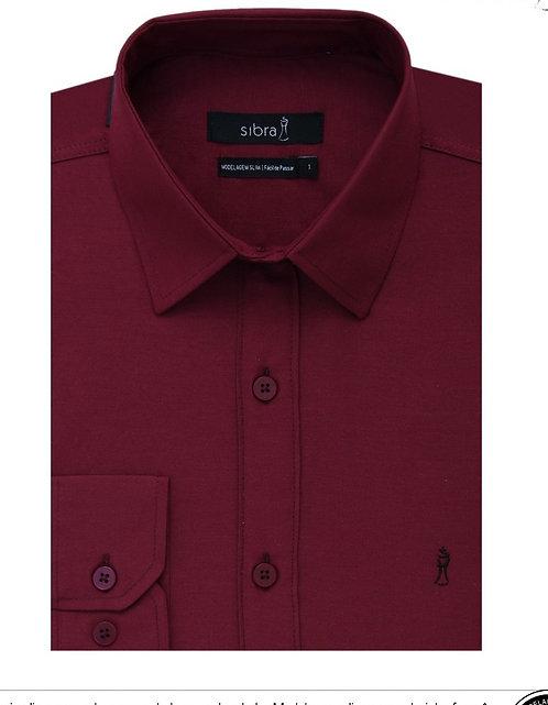 Camisa Longa Slim Vinho sem Bolso