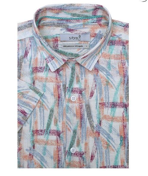 Camisa Casual Slim Manga Curta Estampada Summer Color sem Bolso.