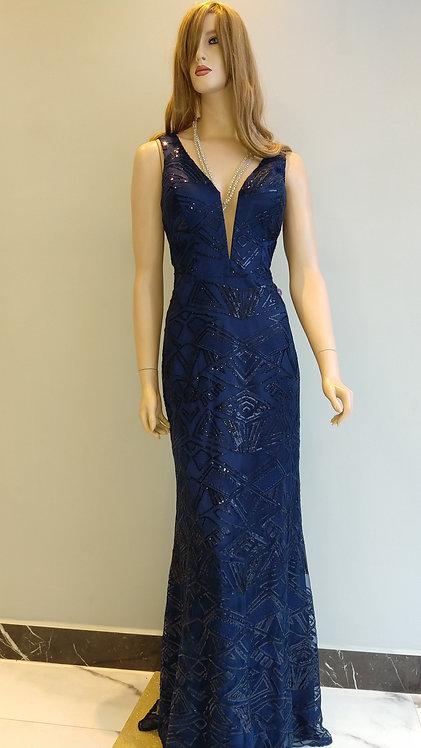 Vestido Longo Azul Marinho Ref. 548