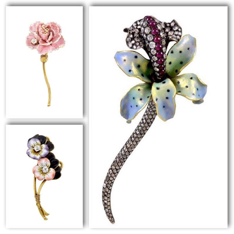 Flower brooches created by Paul Farnham